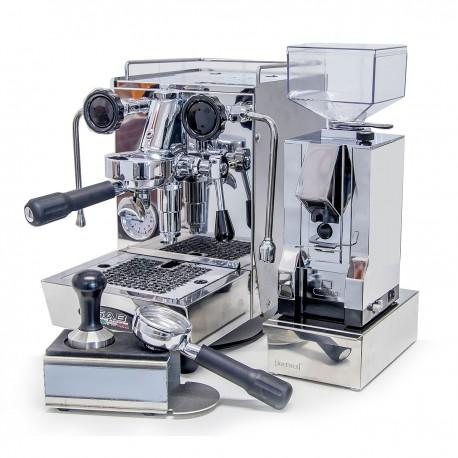 SAB Alice MGS Espressomaschine, Eureka Silenzio Chrom, Kaffeesatzlade, Tamperstation und Tamper