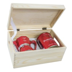 Woodcase Geschenk-Packung  Espressokocher Top Moka 3 Cups & Caffe Desiderio in der Holzbox
