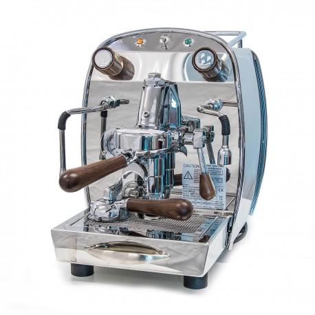 BFC REALE Espressomaschine 1 Gr. Levetta Edelstahl mit Siebträgergriffe und Knebel aus Nussbaum-Holz / Barista Maschine