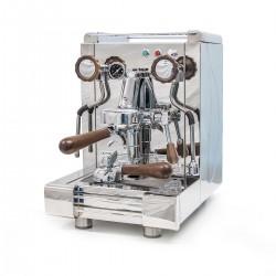 BFC GIOVE Espressomaschine 1 Gr. Levetta Edelstahl mit Siebträgergriffe und Knebel aus Nussbaum-Holz / Barista Maschine